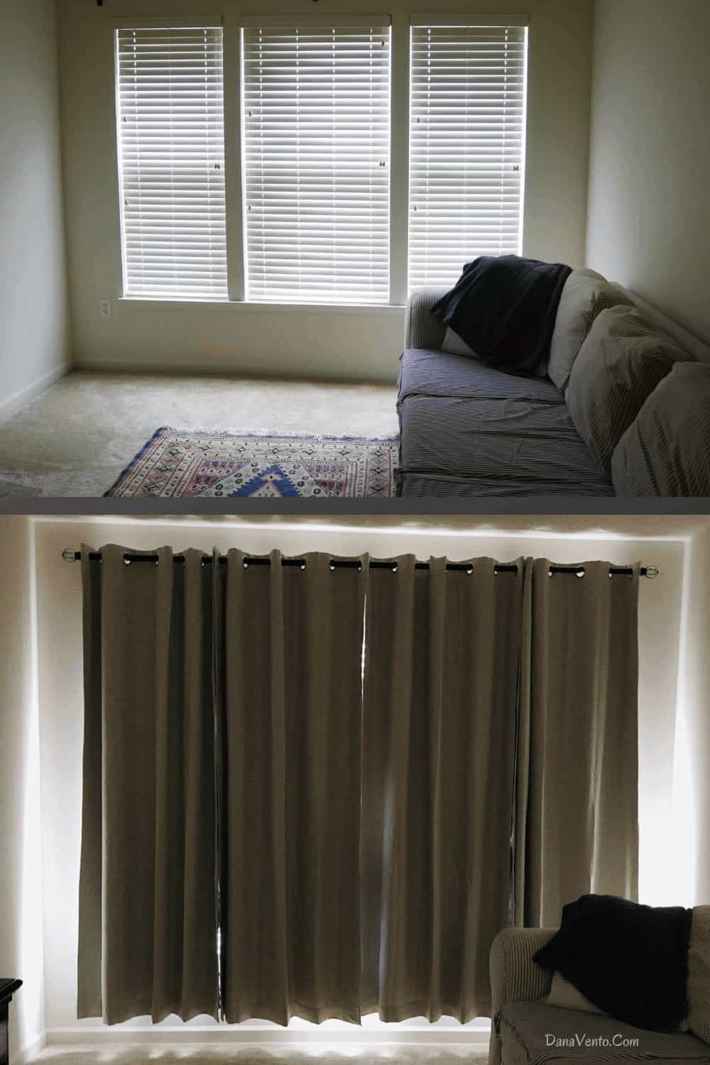 before and after for room darkening curtains