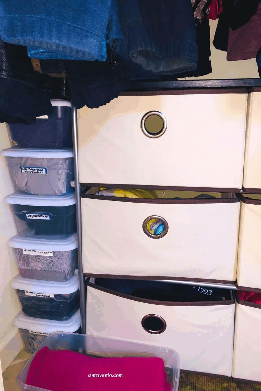 drawers below in closet