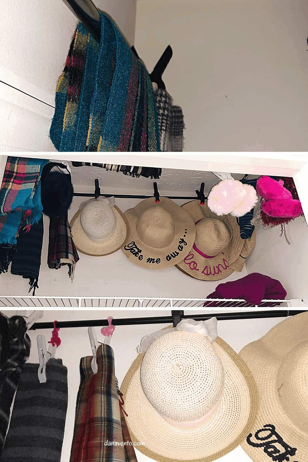 hats, hats, and scarves on hangers
