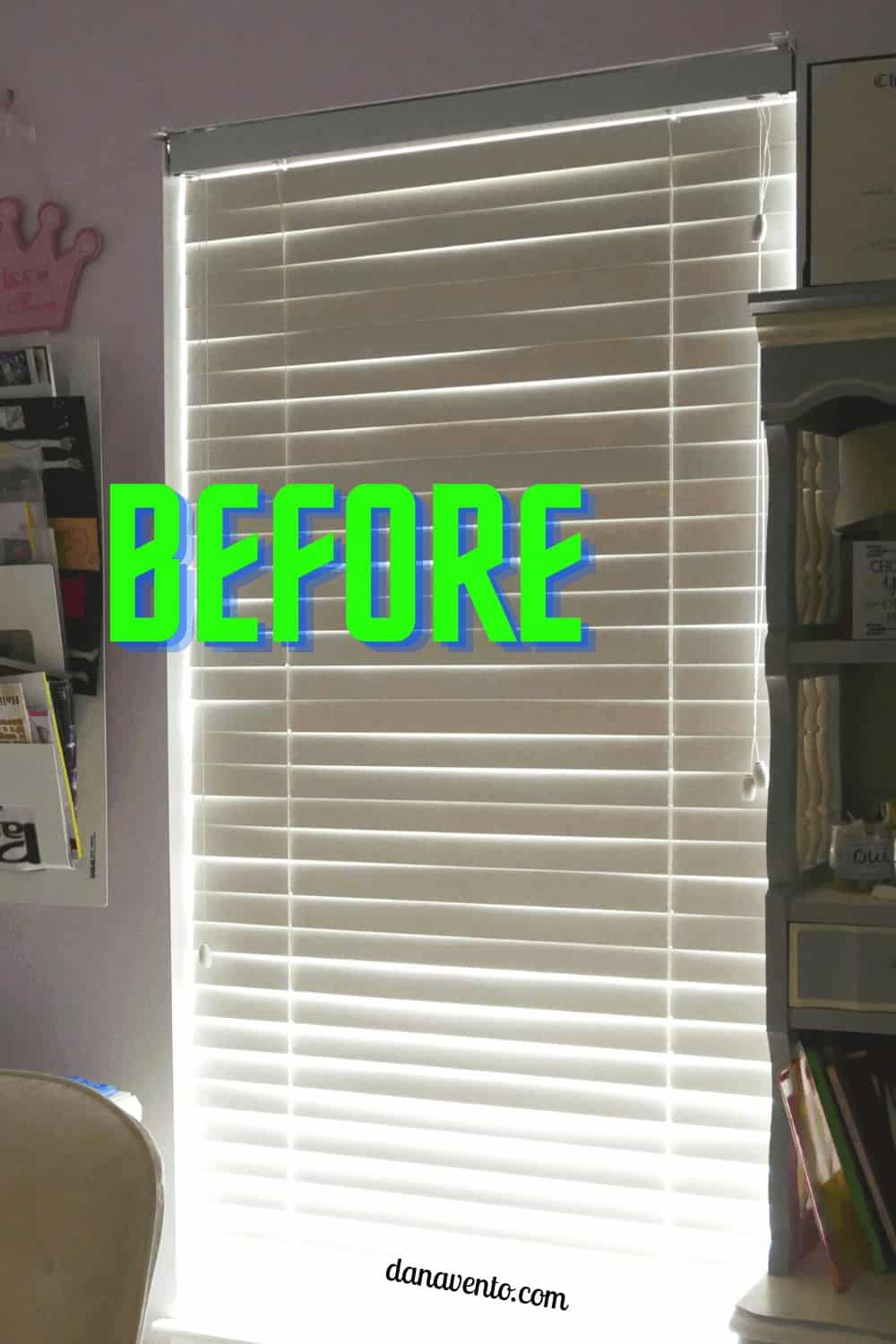 bedroom with blindster and after. Upgrade your blinds we did!