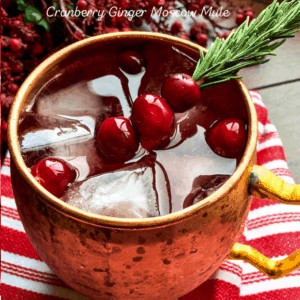 Festive Cranberry Ginger Moscow Mule Cocktails