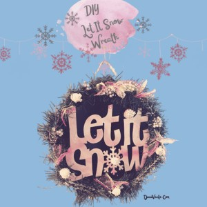 complete Let It Snow Wreath with Pink Holder