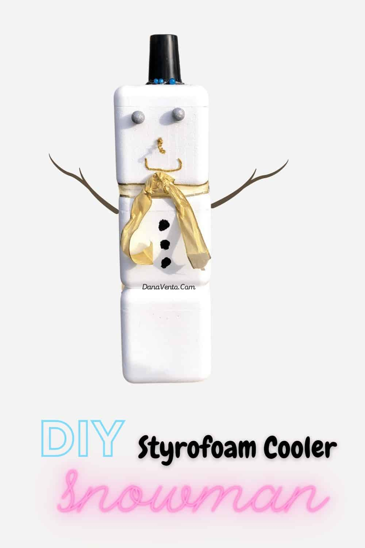 styrofoam cooler snowman