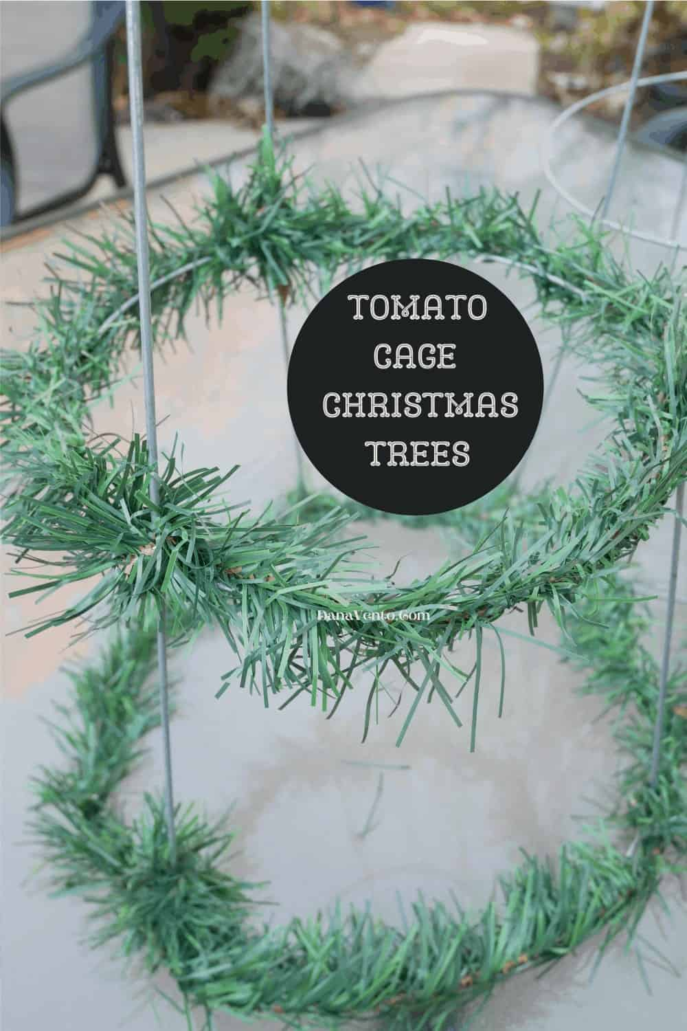 tomato cage with some garland on it