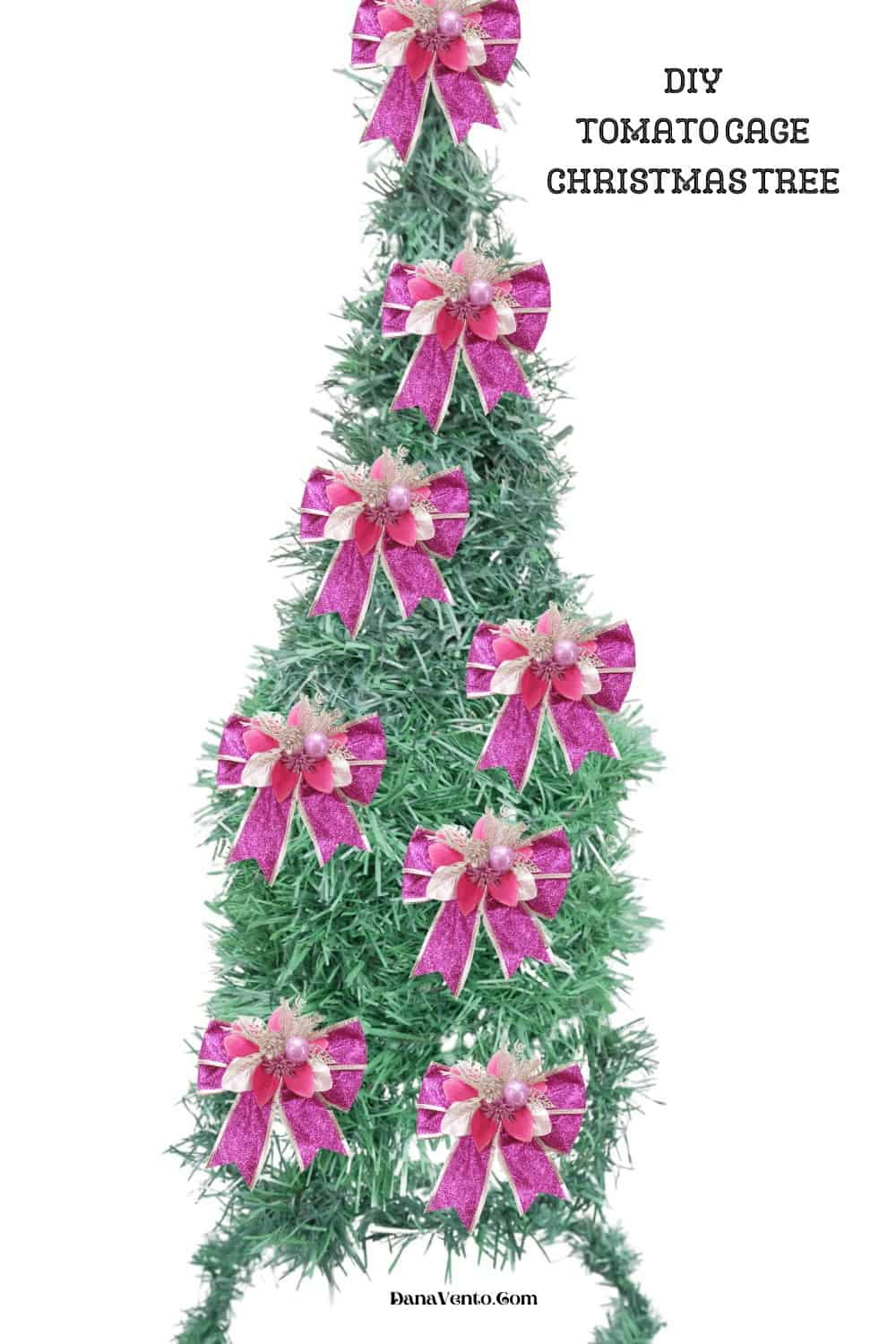 Pink waterproof bows on Tomato Cage Tree