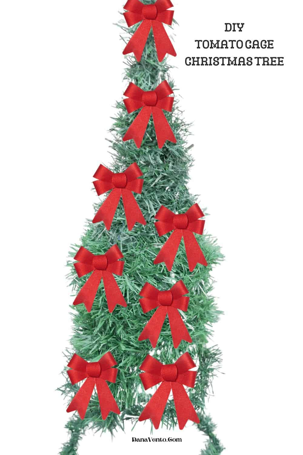 Tomato Cage Christmas Tree with Red Velvet bows waterproof