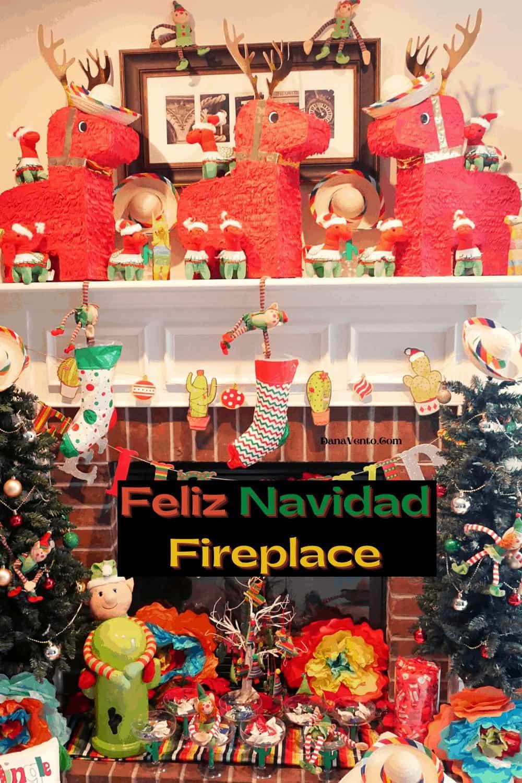 Feliz Navidad Mantel Decoration Ideas with Donkey Reindeer Pinatas