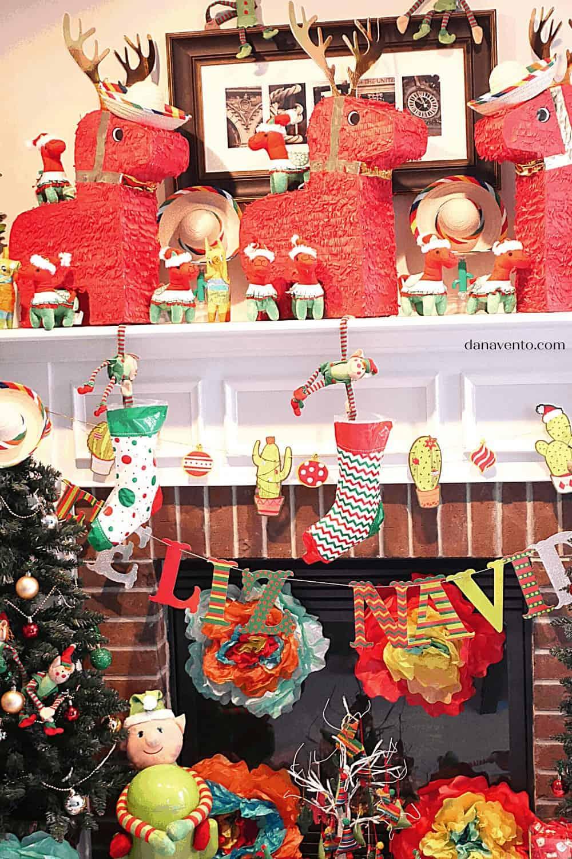 Christmas Donkey Pinatas on Fireplace- mini burros to balane