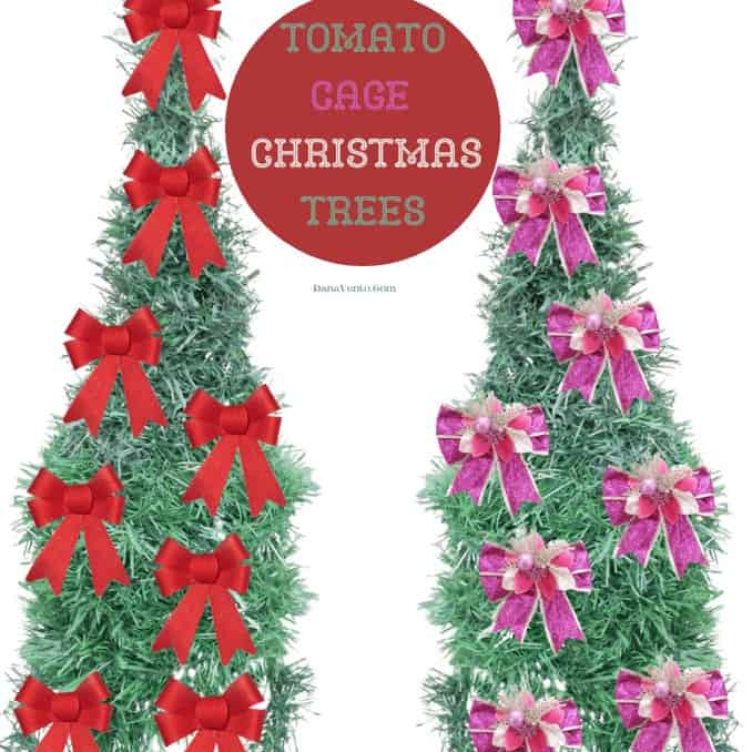 Tomato Cage Christmas Trees  with bows on them