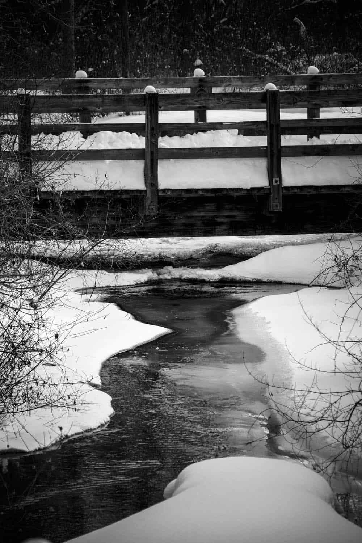 Winter weather and bridge in Michigan
