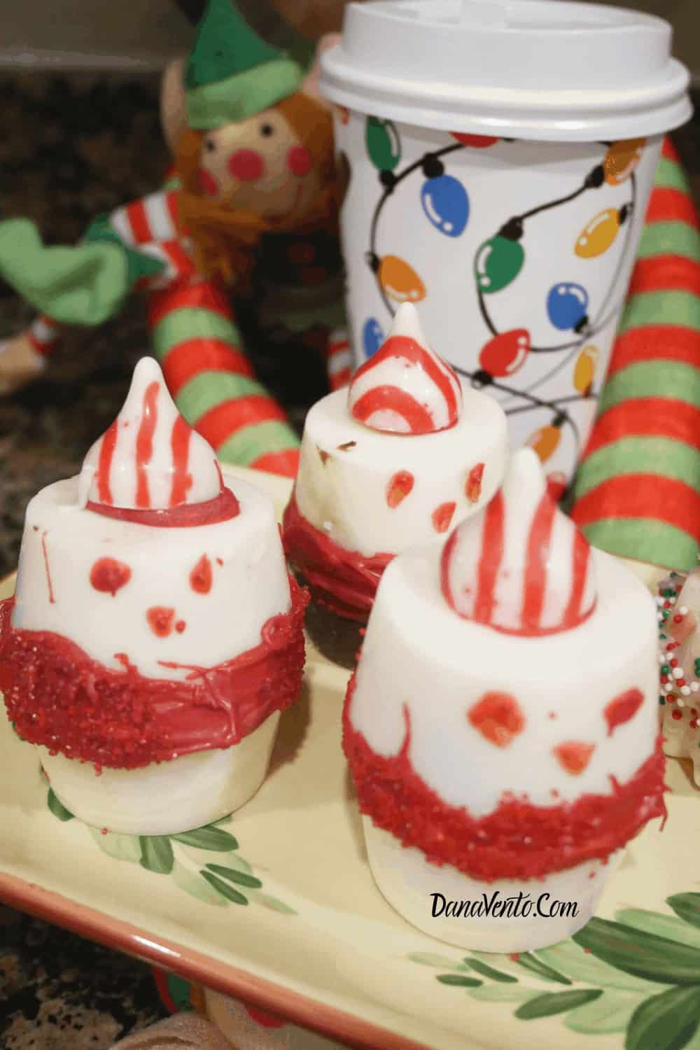 Frosty Peppermint Hot Chocolate Bombs on platter