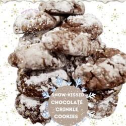 snow-kissed chocolate crinkle cookies