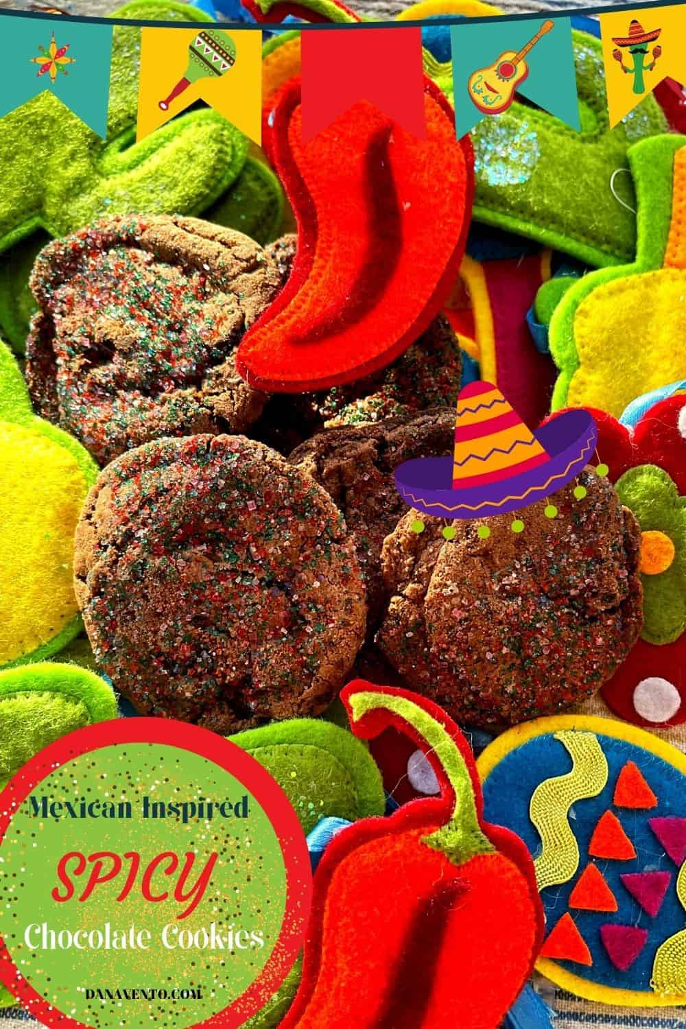 Mexican Inspired Spicy Chocolate Cookies in party paper