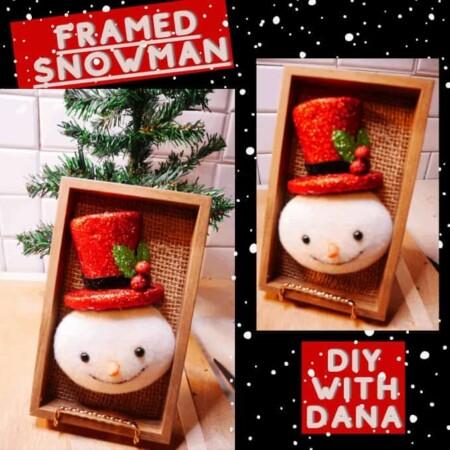 Simple Winter DIY Framed Snowman Wall Decor Using Holiday Items