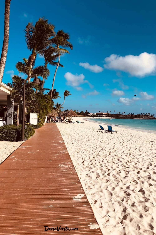 walking through the path back to our aruba resort