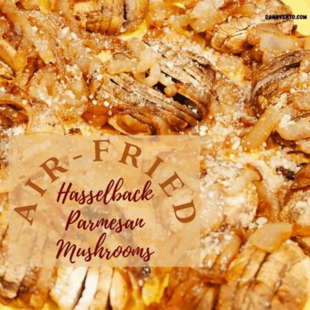 Elegantly Styled Air-Fried Hasselback Parmesan Mushrooms With Caramelized Onions That Are Satisfying and Savory