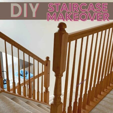 DIY Staircase Makeover With Gel Stain And Iron Balusters That Are Adjustable