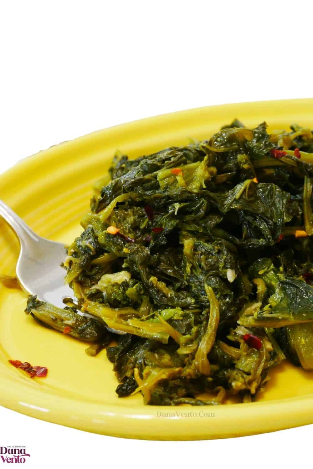 sauteed broccoli rabe super food on a yellow platter