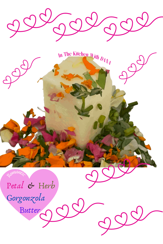 Butter, edible flowers, herbs