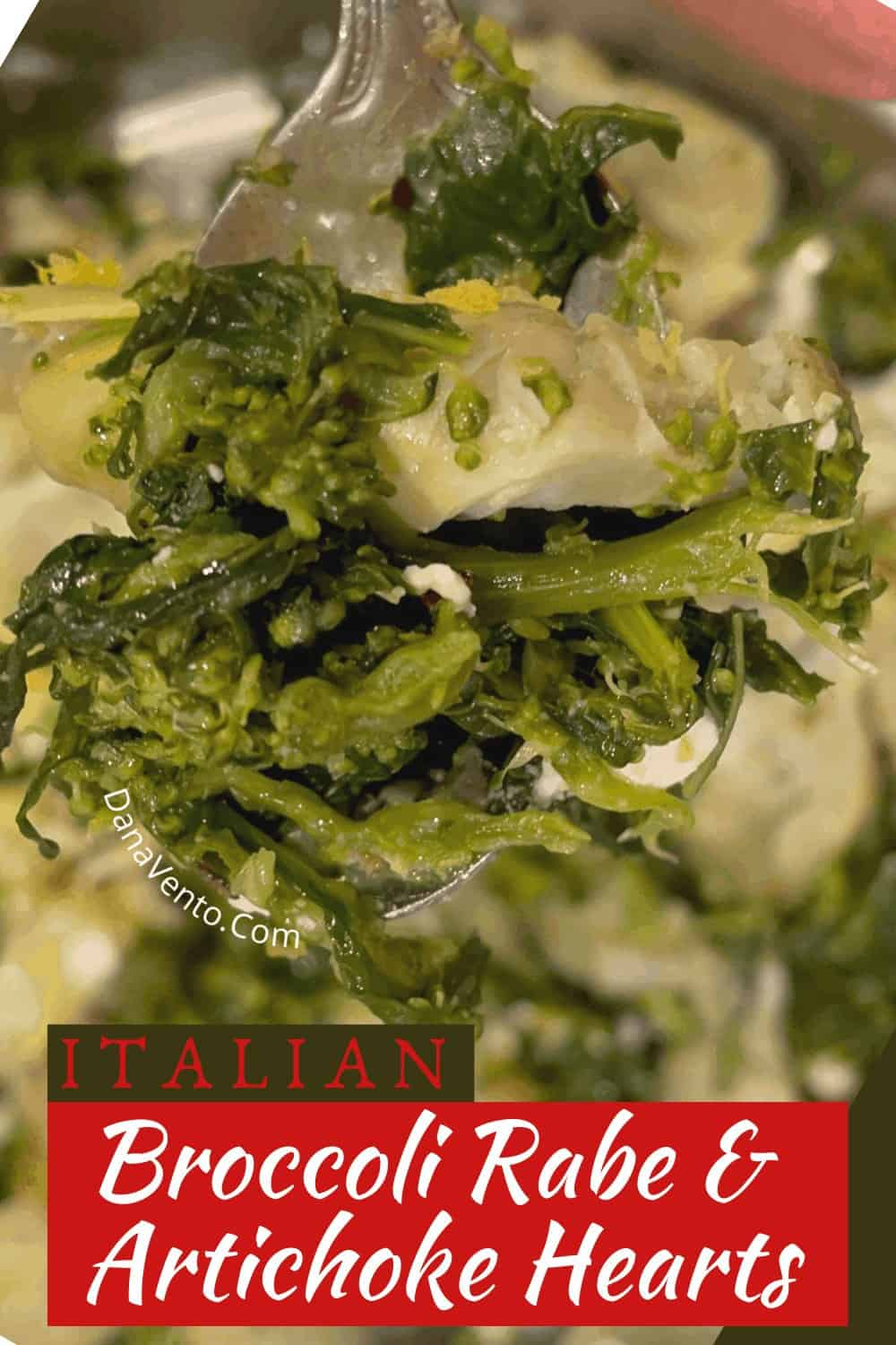 broccoli rabe and artichoke hearts on fork in a pan