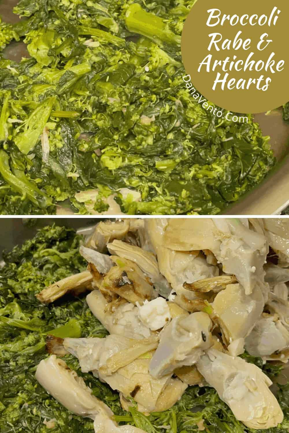 Broccoli Rabe cooked and Artichoke Hearts with Feta