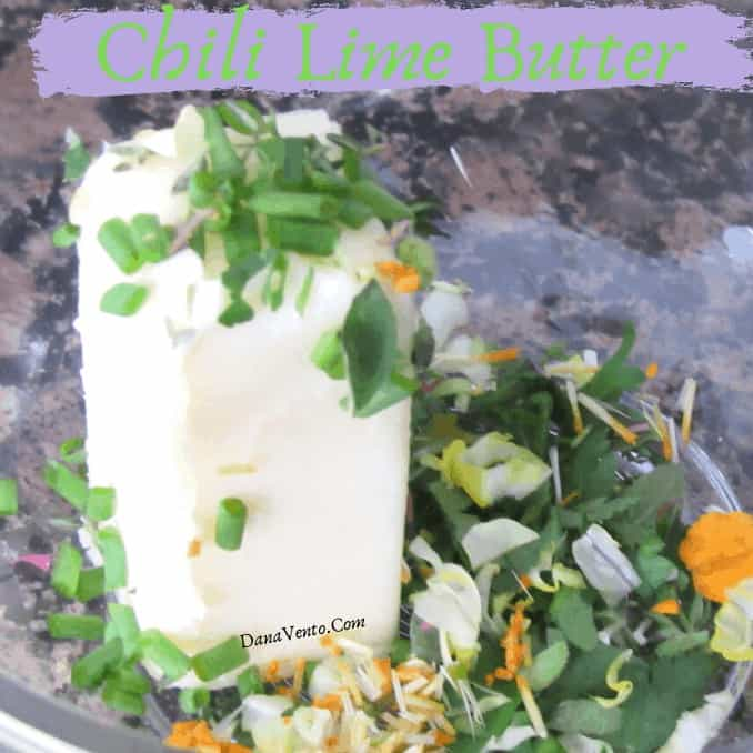 butter-in-bowl-with-herbs. Chili Lime herb butter