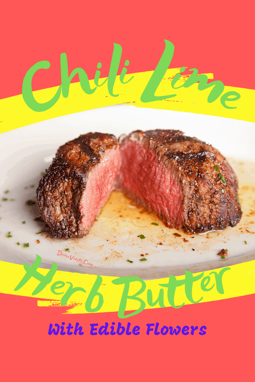 Chili Lime Herbed Butter with Edible Flowers steak on platter