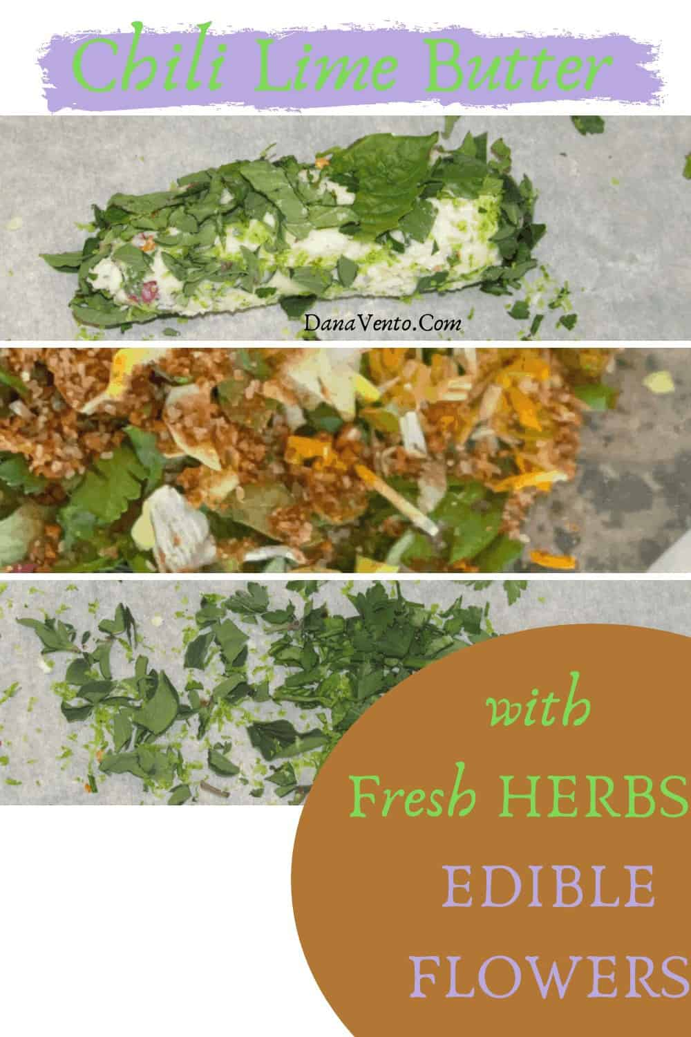 herbs and a roll of chili lime herb butter