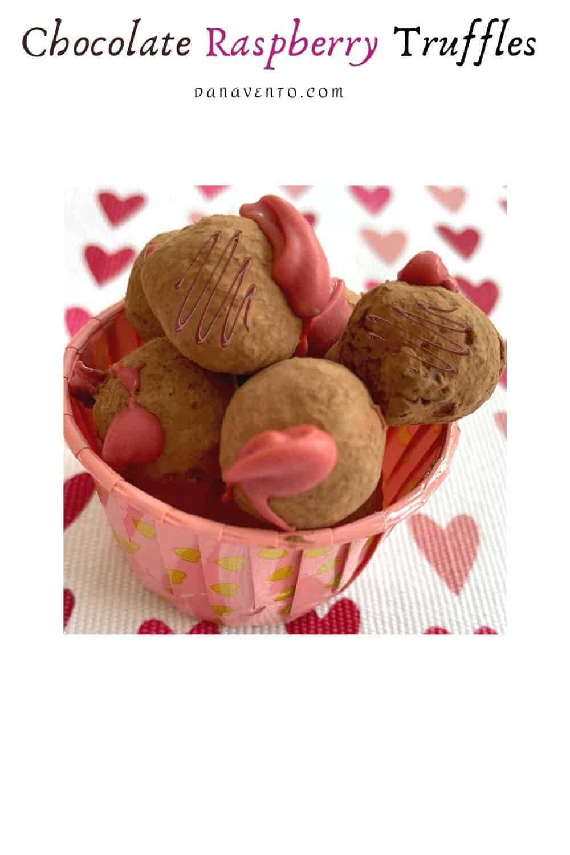 Gourmet Chocolate Raspberry Truffles in cup from chocolate ganache