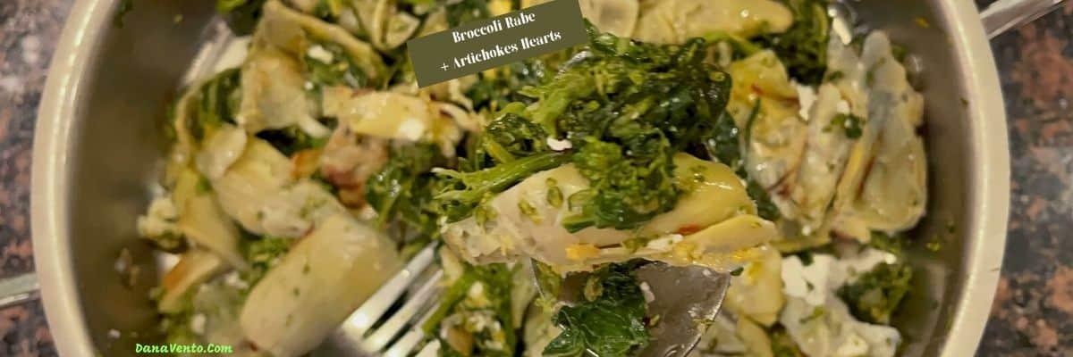 Copy of Broccoli Rabe and artichoke hearts fresh in pan