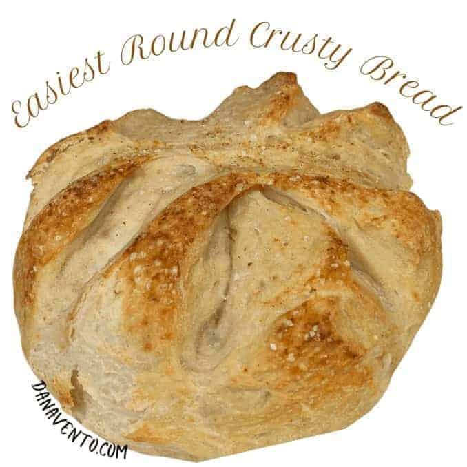 Super Easy Round Crusty Bread (just 5 Ingredients)