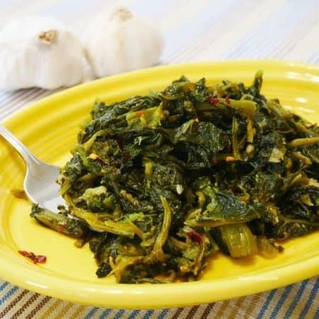 Sauteed Broccoli Rabe superfood close to garlic