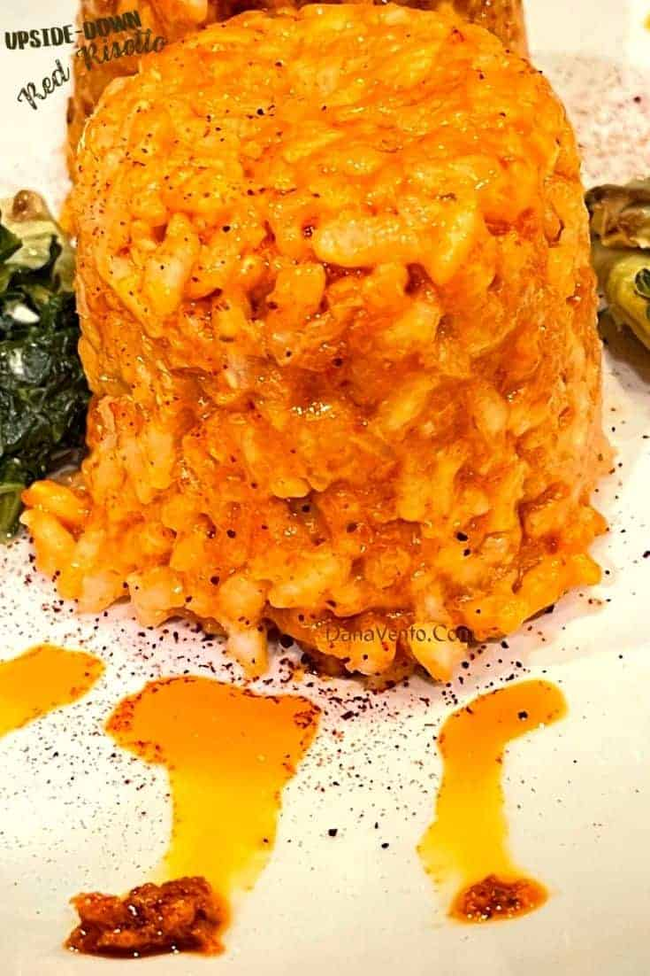 Red risotto on plate