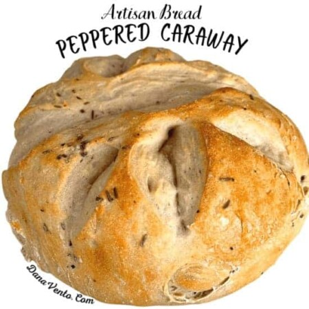 round loaf of peppered caraway bread