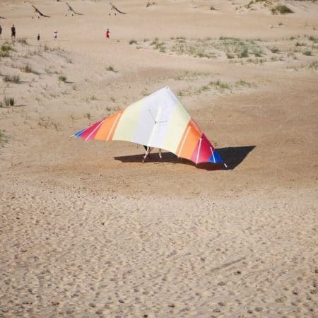 Outer Banks hang gliding experience my hang glider in sand