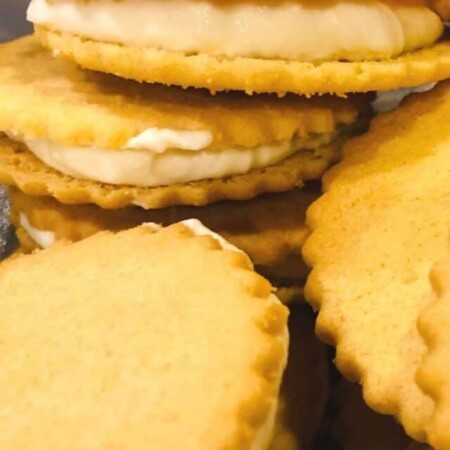 cropped no bake lemon filled cookies in a stack