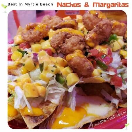 Best Nachos and Margaritas in Myrtle Beach nacho platter with shrimp
