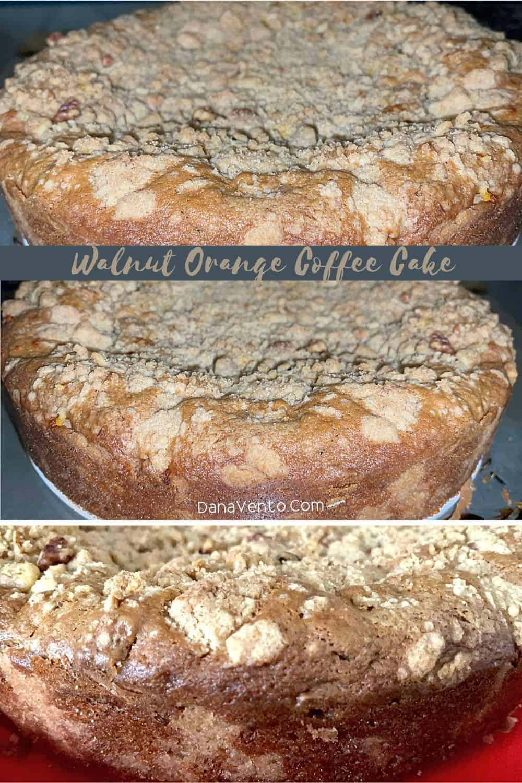 Walnut Orange Coffee Cake after being baked
