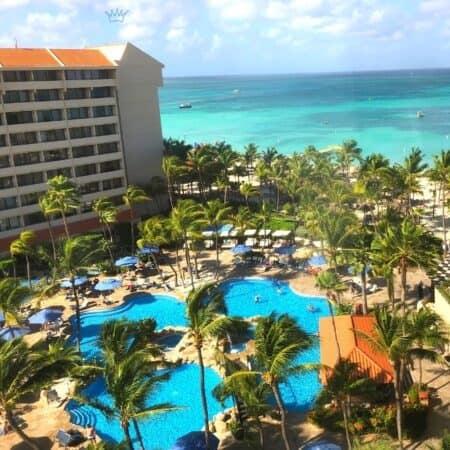 stunning all inclusive Aruba Palm Beach resort from room view