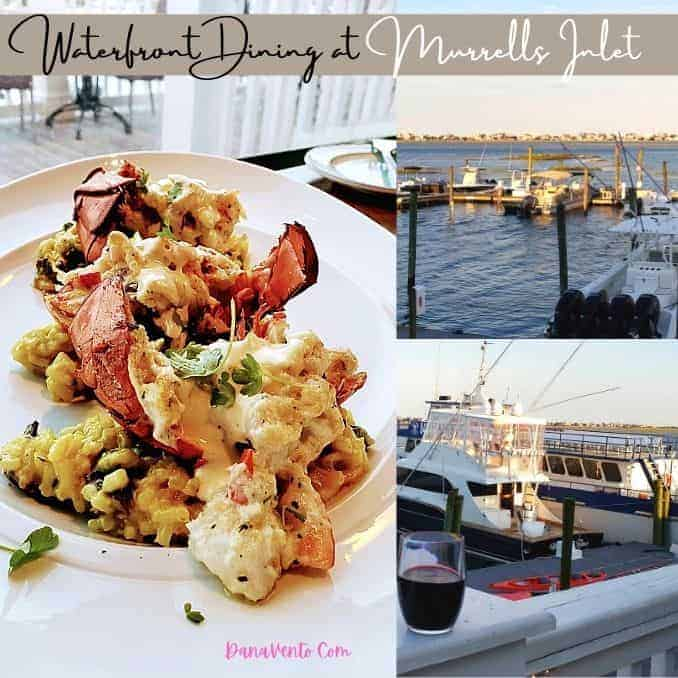 waterfront dining at Murrells Inlet lobster and boats on water