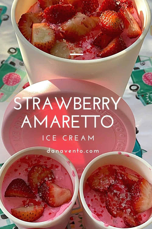 Strawberry Amaretto ice cream in containers