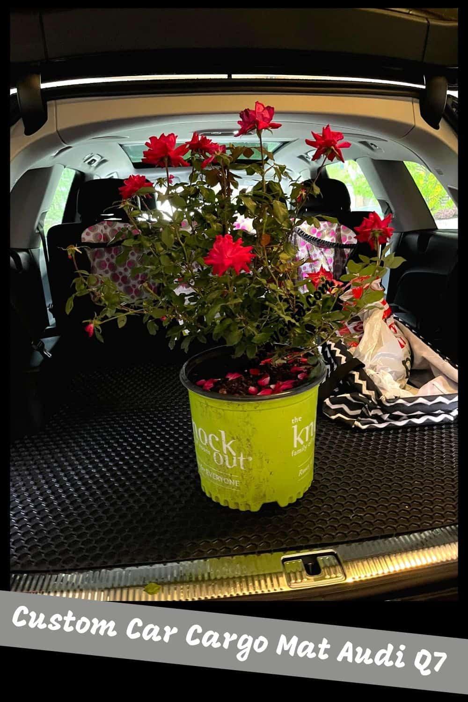 dirty Rose bucket on Hexomat custom auto mat Cargo space Audi Q7