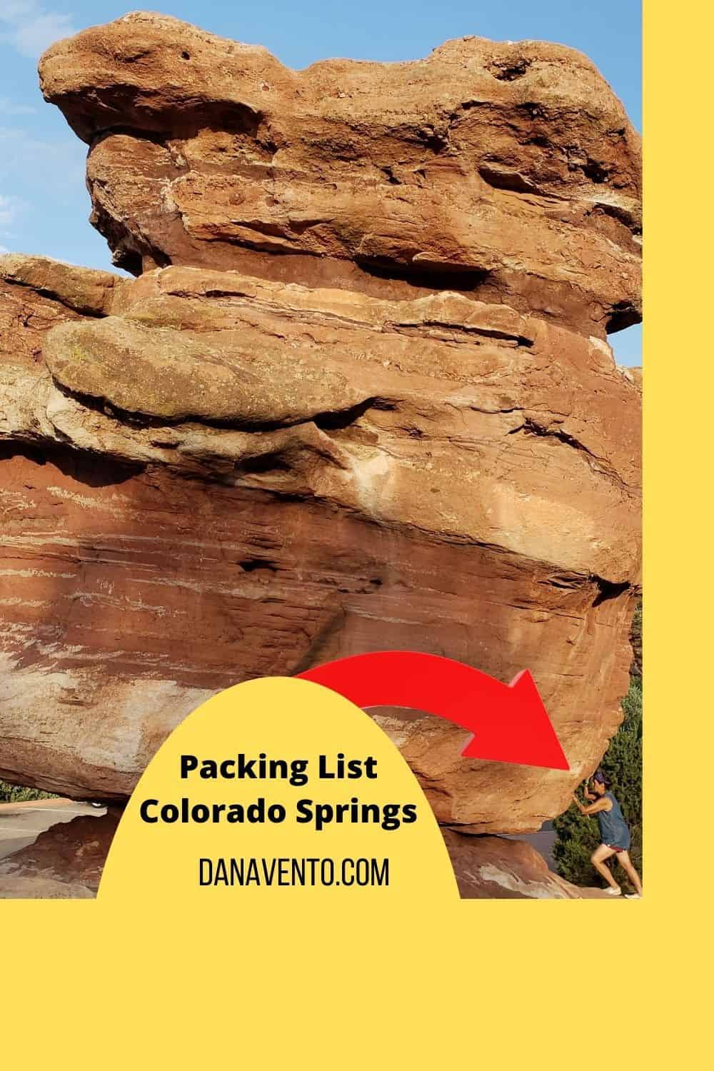 Colorado Springs Adaptable Summer Packing List garden of gods lady pushing rock