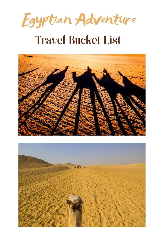 Egyptian Adventure Travel Bucket List Camel Ride on Sand