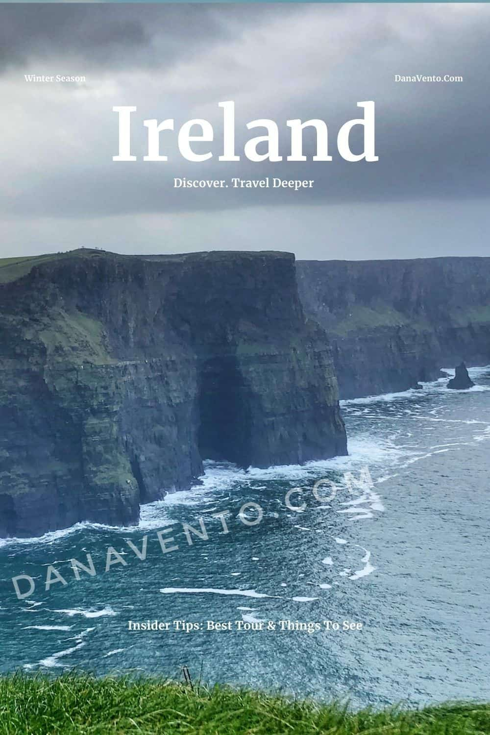 Ireland Cliffs of Moher Image with rain