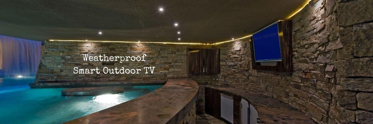 Pool with Weatherproof Smart Outdoor TV