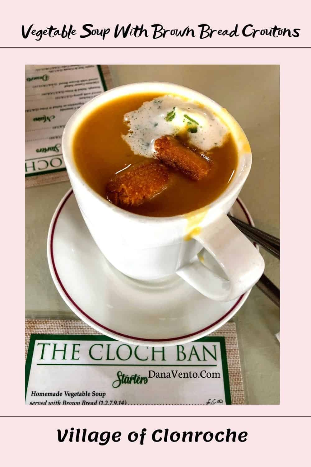 Vegetable Soup with Brown Bread Croutons