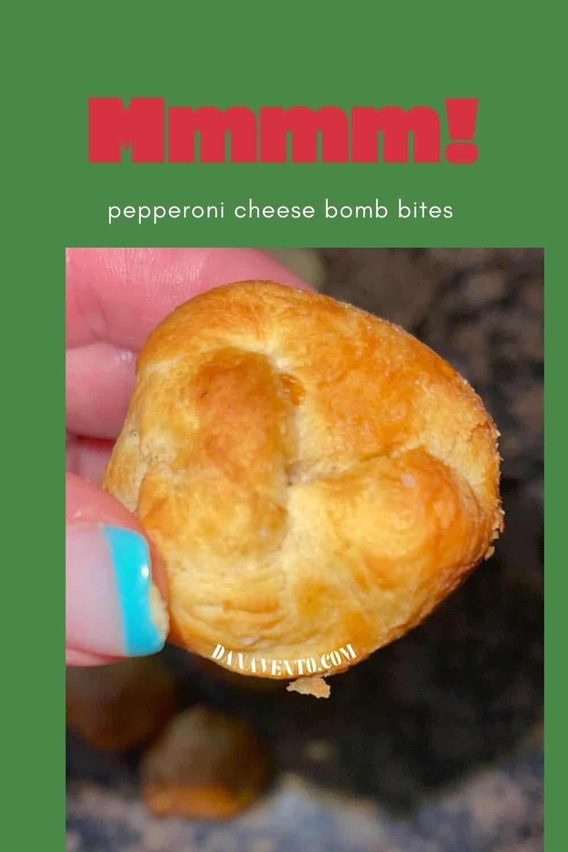 Pepperoni Cheese Bomb Bitesin hand