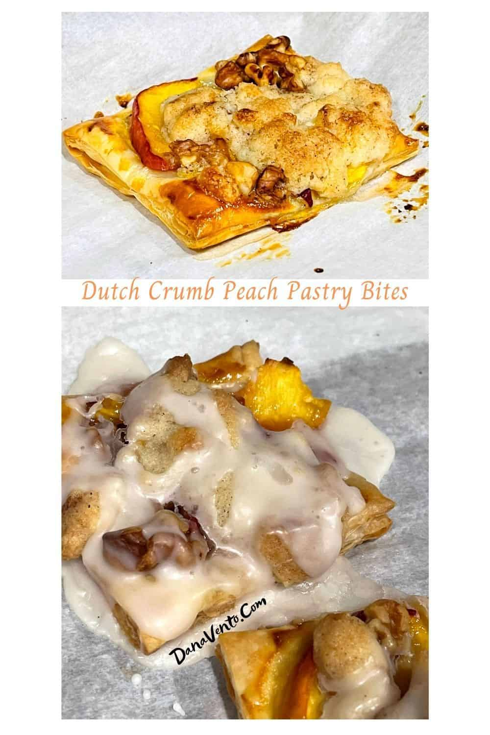 Dutch Crumb Peach Pastry Bites naked and iced