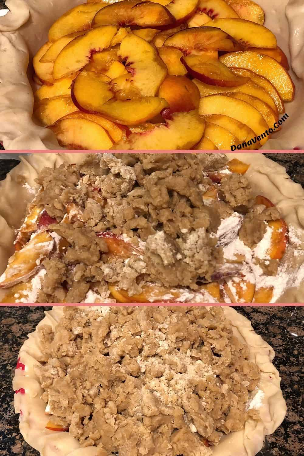dutch crumb peach pie from pie crust with peaches to topping